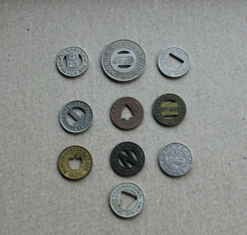 Lot of 10 Transit Traction Bus Street Railway Tokens Free Shipping