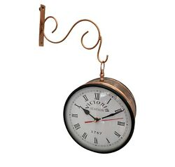 6 inches Victoria Station Double Sided Copper Finish Railway Clock Home Decor