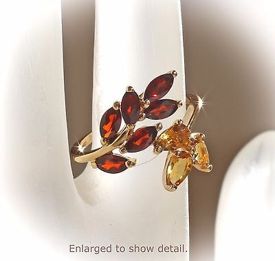 NWT 14K Yellow Gold Citrine & Mozambique Garnet Leaf Design Bypass Ring US 4.75 ()