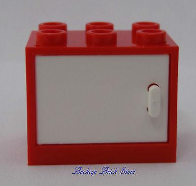 NEW Lego RED CONTAINER w/WHITE Doors 2x3x2 Minifig Cupboard Nightstand 2 Door Cherry Nightstand