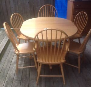 Mennonite made oak table and chairs