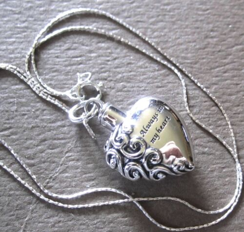 Always In My Heart Cremation Urn Necklace for Ashes ~ All 925 Sterling Silver