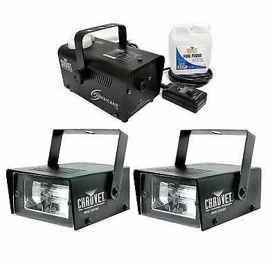 (2) Chauvet DJ CH-730 Mini Strobe LED Lights w/ Hurricane 700 H700 Fog Machine