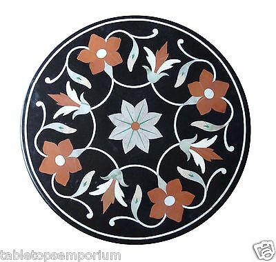 """12""""x12"""" Black Marble Side Countertops Table Mosaic Inlay Home Outdoor Decor Gift"""