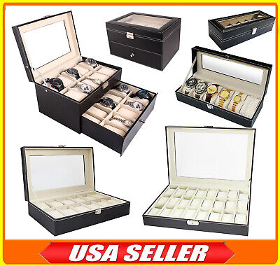 6/12/24 Slot Leather Watch Box Display Case Organizer Top Glass Jewelry Storage