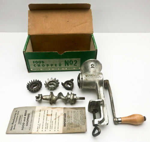 Vintage Universal No. 2 Hand Crank Iron Meat Grinder Food Chopper