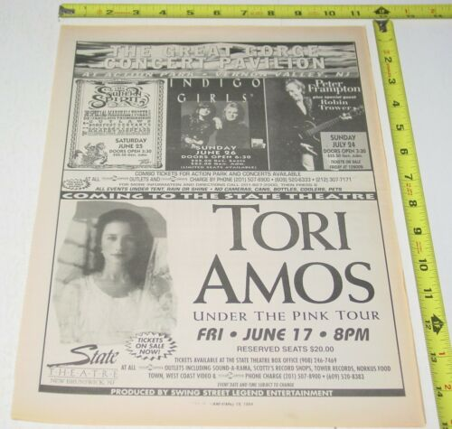 Tori Amos Concert AD Advert 1994 Under  Pink Tour State Theater New Brunswick NJ