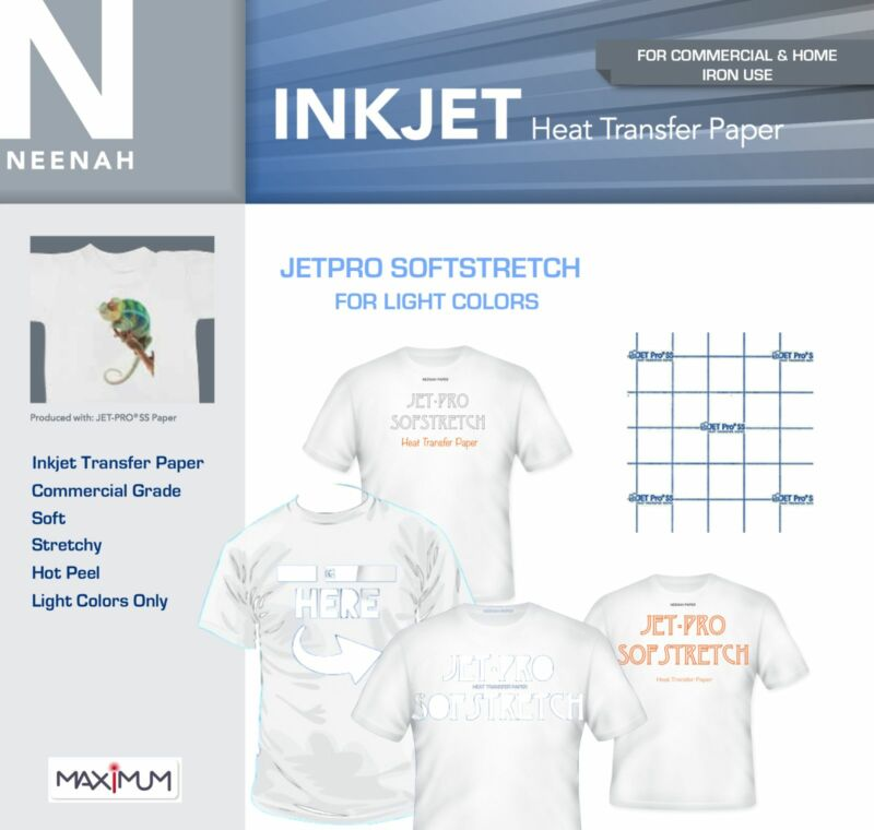 Neenah JetPro Stretchy Heat Transfer Paper for Light Colors 8.5 x 11 (22 Sheets)