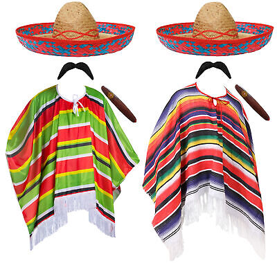 MEXICAN PONCHO SOMBRERO CIGAR MENS MEXICO FANCY DRESS COSTUME STAG PARTY OUTFIT