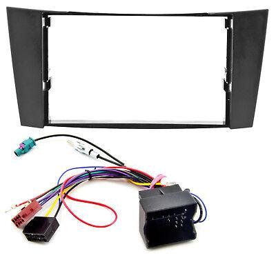 Radio Blende Adapter Kabel Set für Mercedes E-Klasse W211 CLS C219 schwarz 2DIN