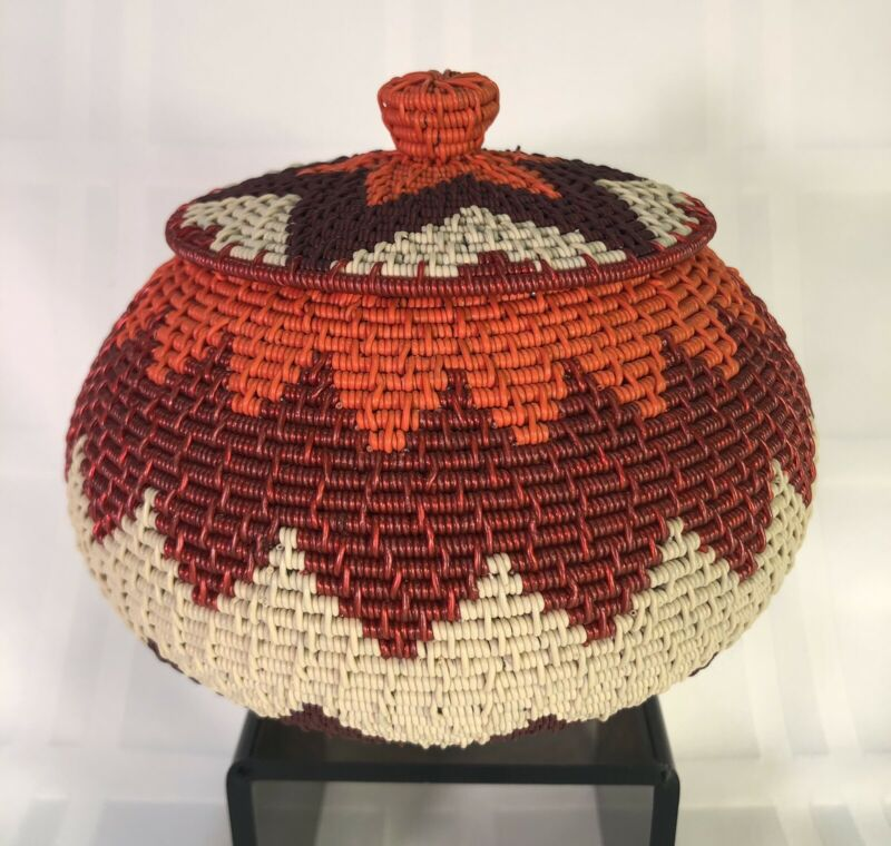 Zulu Telephone Wire BASKET w/ Lid African Covered Pot Lidded Orange Zigzag 2 Pcs