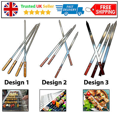4PC BBQ SKEWER WOODEN HANDLE BARBECUE KEBAB STICKS FOOD GRILL TANDOORI COOKING