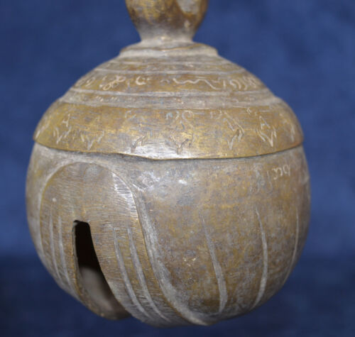 RARE LARGE HEAVY SIGNED ANTIQUE SPHERICAL BURMESE BRONZE ELEPHANT BELL CHU BELL