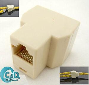 RJ45 Ethernet LAN Network Y Splitter 2 Way Adapter 3 Ports Coupler Split 1 to 2