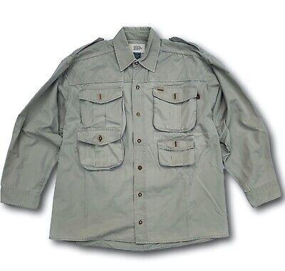 VTG National Geographic Society Men XL Shirt Outdoors Hiking Safari Khaki -