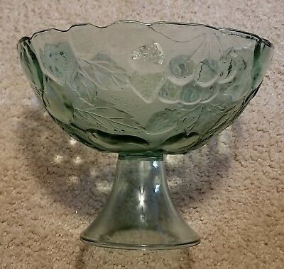 "Frosted Glass Fruit Bowl on Pedestal Etched Fruit Design, 8"" Tall 9.75"" Diameter"
