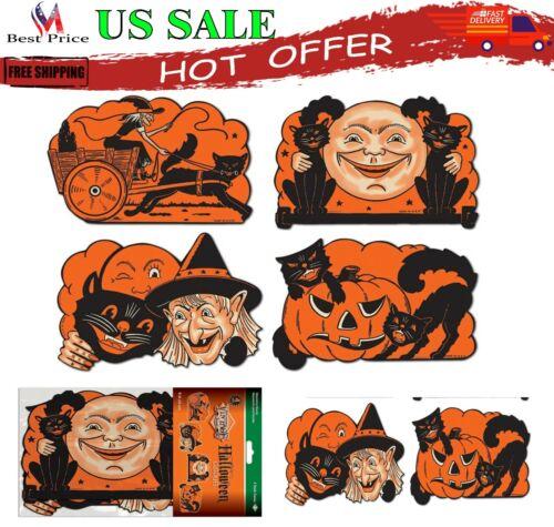 4 Vintage Beistle 1950 Die Cut Cutouts Reproduction Classic Halloween Decoration