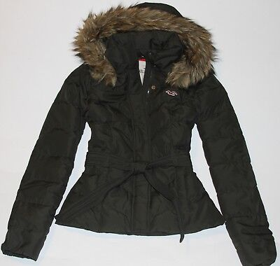 NWT HOLLISTER by Abercrombie Womens Down Puffer Jacket Coat Fur Trim Olive S