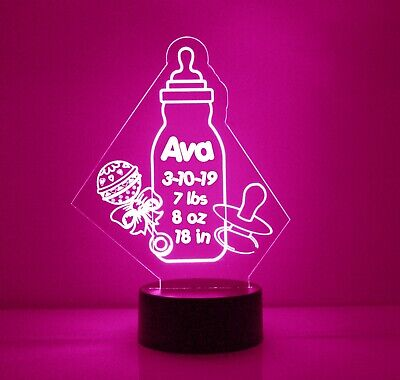 Baby Bottle & Rattle Personalized FREE, LED Night Light, Nursery Lamp Baby Light for sale  Shipping to India