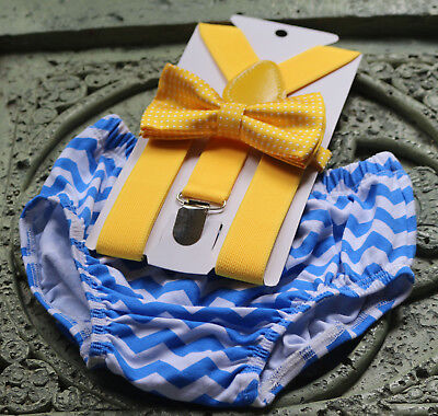 1st Birthday boy cake smash bow tie suspenders outfit blue yellow](1st Birthday Boy Outfits)