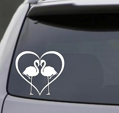 Country Home Decorating Ideas Living Room FLAMINGO HEART Vinyl Decal Sticker Car Window Wall Bumper Bird Love Symbol