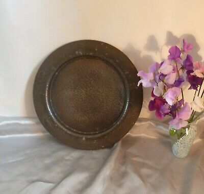 Antique Arts & Crafts Pewter Plate-Hand Hammered and Embossed-1920's/30's