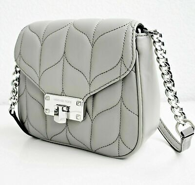 Michael Kors Peyton  Chain / Leather Cross Body Bag - Pearl Grey- New with Tags