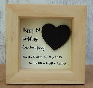 3rd Wedding Anniversary Leather Gift Personalised Script Frame HeartBox