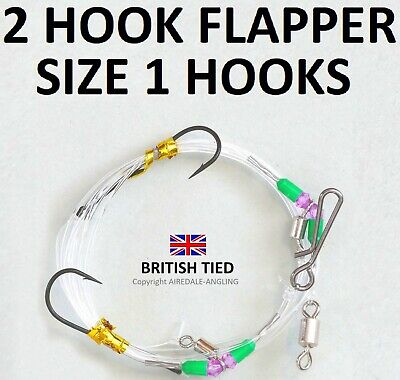 SEA FISHING TACKLE - QUALITY BRITISH TIED RIGS - 2 HOOK FLAPPER RIG