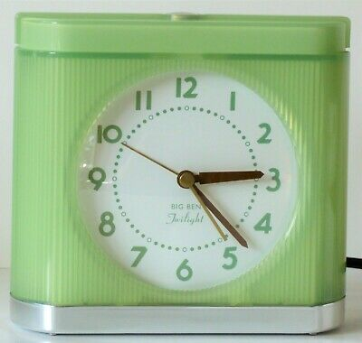Vintage Westclox Big Ben Light Green Twilight Alarm Clock Night Lighted