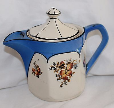 VINTAGE HAMPTON IVORY ENGLAND SMALL BLUE & IVORY FRUIT DESIGN TEAPOT!