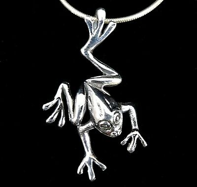 Sterling Silver Frog Pendant - Handcrafted Solid 925 Sterling Silver Leaping Tree FROG TOAD Charm Slide Pendant