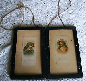 Mater-Dolorosa-Ecce-Homo-1930s-Framed-Pictures-7-By-4-Inches