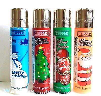 4 x Clipper Lighters Santa Snowman Christmas Tree Baubles Print