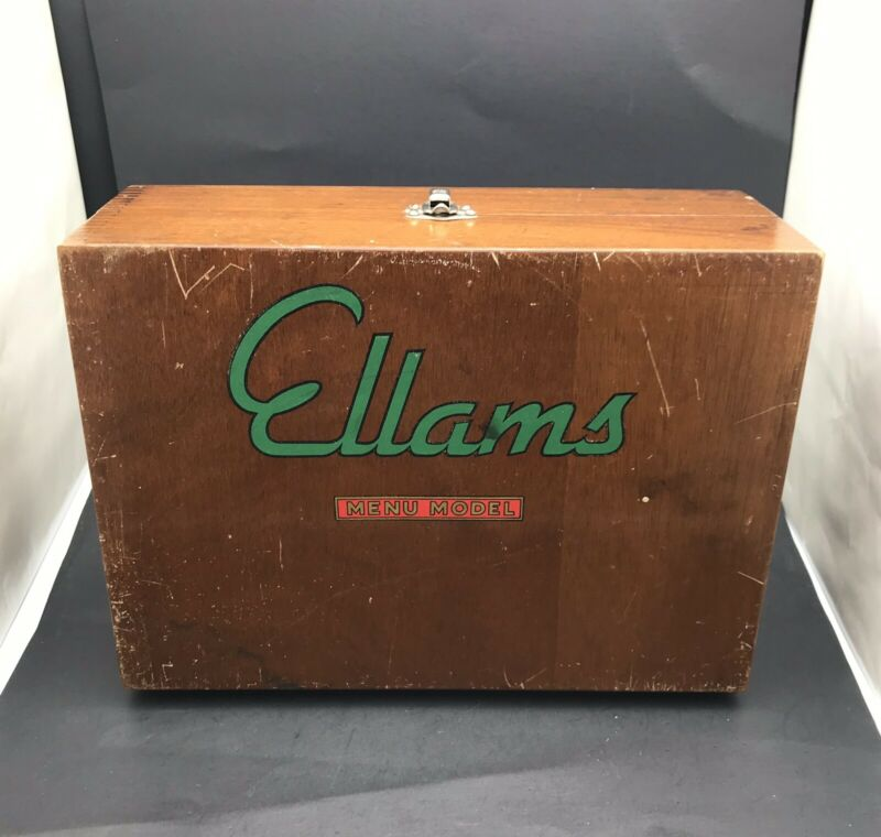 Antique Ellams Menu Model Screen Duplicator Mimeograph in Wooden Box w/Vellam