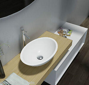 BATHROOM - OVAL ABOVE COUNTER TOP BASIN - STONE - SOLID SURFACE GLOSS FINISH