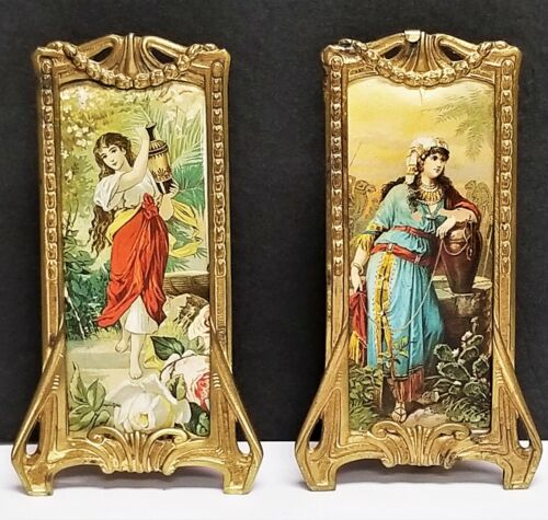 PR Antique Aesthetic Nouveau Easel Back Brass Picture Frames Numbered 1222