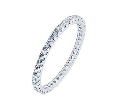 New 925 Sterling Silver Rhodium Plated Full Eternity  Ring with clear CZ   292