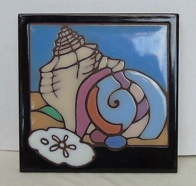 Payne Creations Hand Painted Tile Trivet Sea Shells Sealife Black Pinks Blue