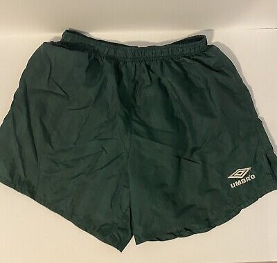 Classic Vintage 90's UMBRO shorts Green Nylon Shiny Size Large