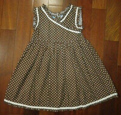 Butterfly Girl Size 5 Girl's Brown & White Polka Dot Skater Dress
