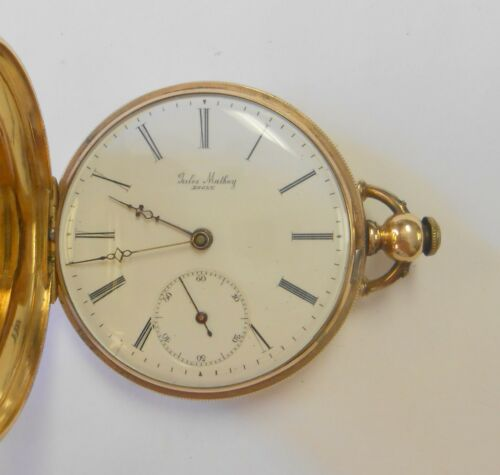 Rare Jules Mathey Locle 14K Yellow Gold Hunting Case Pocket Watch Key Wind 11J