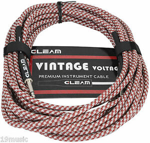 1616 instrument guitar cable lead 10m vintage retro RED braid fabric tweed long