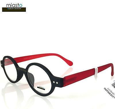 MIASTO CIAO ITALY SMALL ROUND OAVL BOHO READERS READING GLASSES +2.25 BLACK RED
