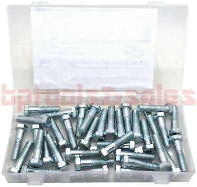 36pc Long Hex Bolt Assortment Set Sae 38 -16 Assorted Kit 1-12 Length
