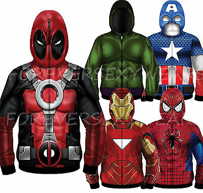 Men Marvel DC Comic Book Star War Sublimated Fleece Hooded Full Mask Zip Hoodie