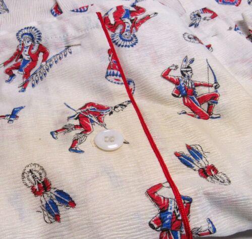 Vintage 50s Indians Print Boys Pajamas Sets 4T Native American Regent NOS AS-IS