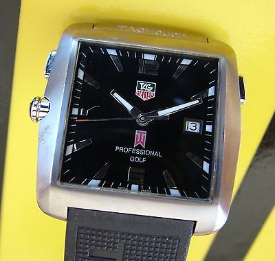 MeN TAG HeUeR Special LIMITED EDITION Tiger Woods Square TITANIUM Golf Watch~WoW