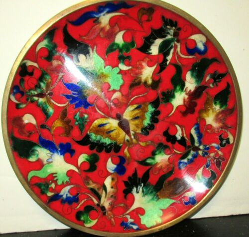 ROBERT KUO JAPANESE CLOISONNE ENAMEL BUTTERFLY DESIGN PLATE SIGNED
