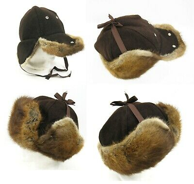 1950s Mens Hats | 50s Vintage Men's Hats Vintage 1950's 60's Beaver Or Muskrat Fur Lined Wool Flap Hunting Cap Hat M - L $52.00 AT vintagedancer.com